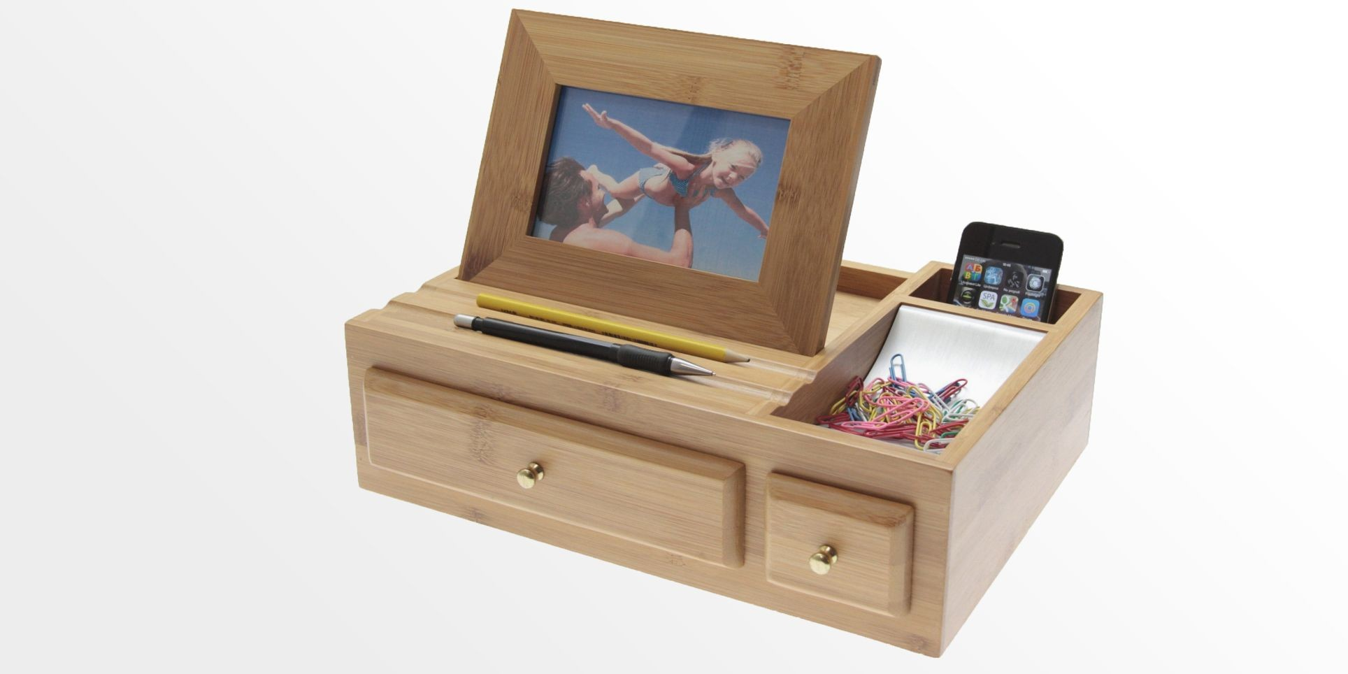 Desk Organiser with Photo Frame | Bamboo Stationary Box ...