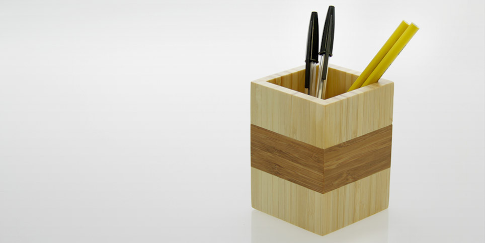 Pen Box Pencil Pot Bamboo Office Supplies