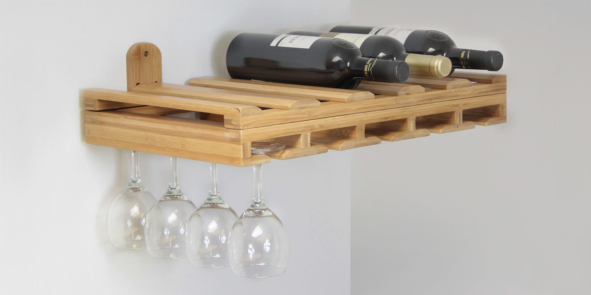 Wine Glasses Bottles Holder Bamboo Kitchen Storage