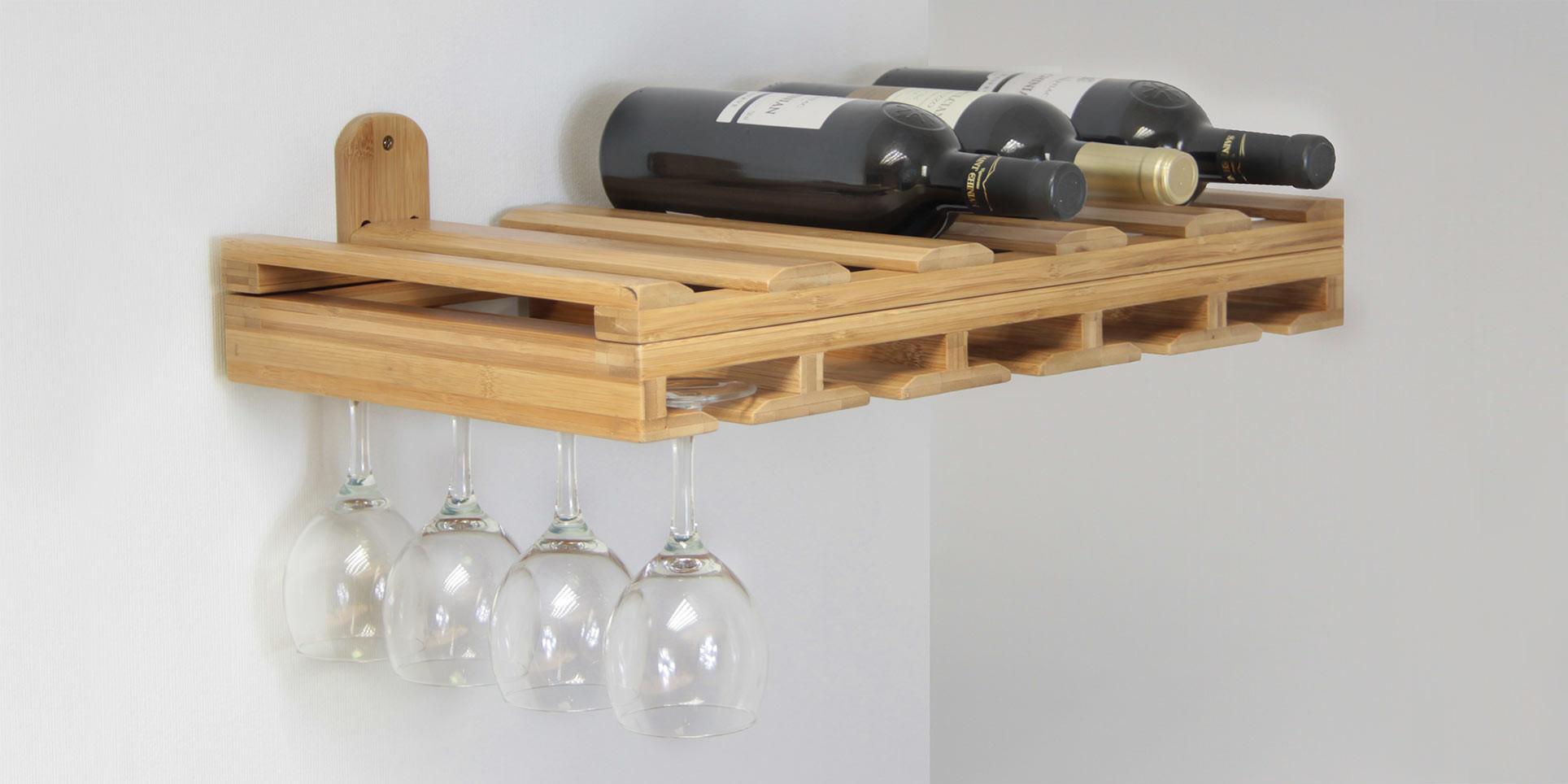 Wine Glasses & Bottles Holder | Bamboo Kitchen Storage