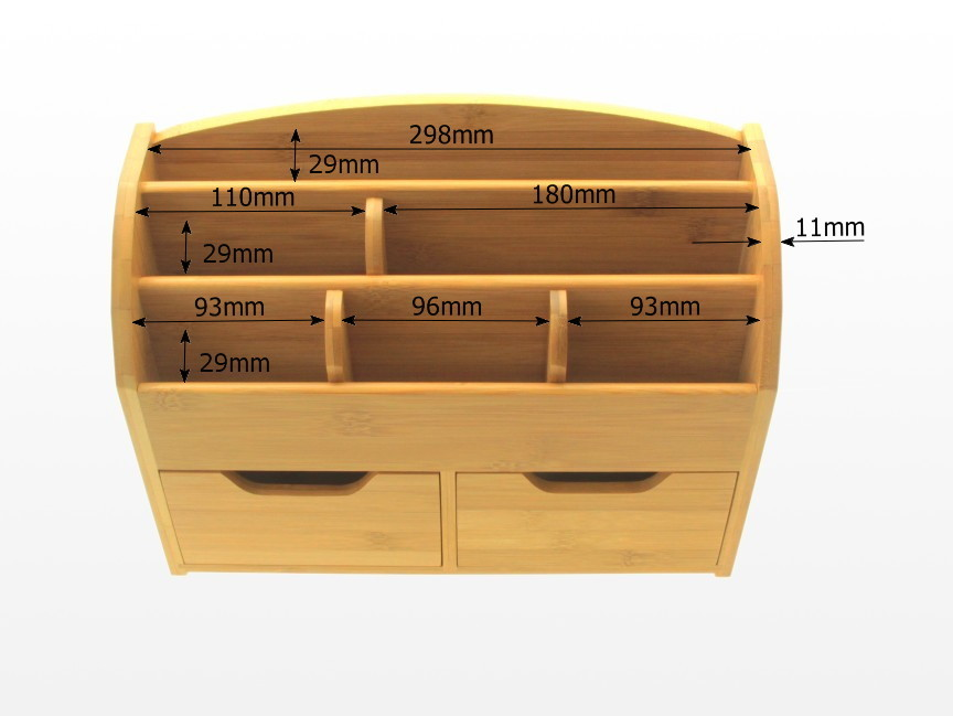 Desk Stationery Box, Wall-Mounted Organiser | Bamboo ...