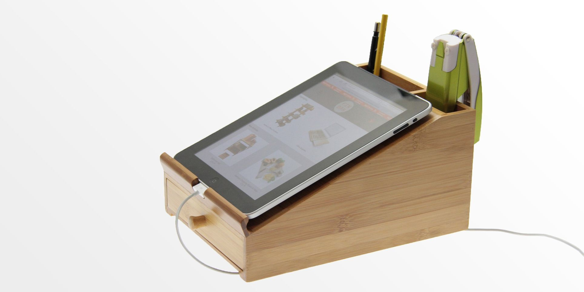 IPad Stand L Desk Tidy Bamboo Organiser Office