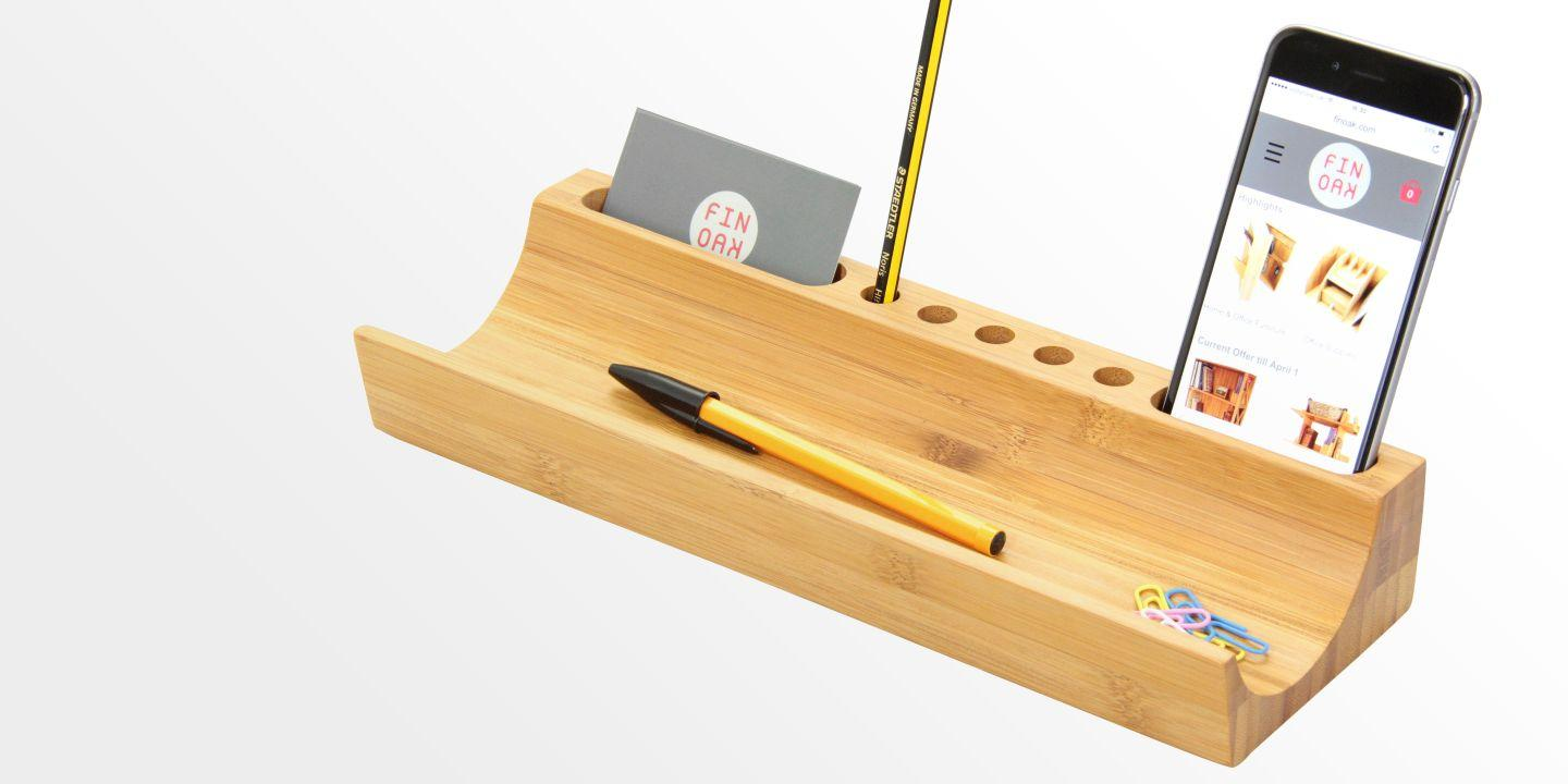 U Shaped Desk Organiser Bamboo Desk Tidy