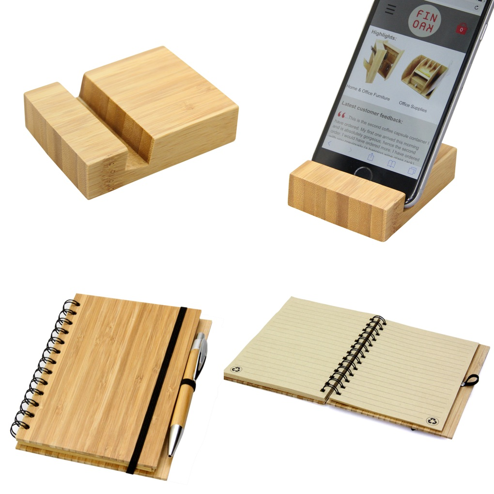 Bamboo Phone Holder and Notepad with Pen