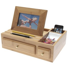 Bamboo Desk Organiser with Photo Frame