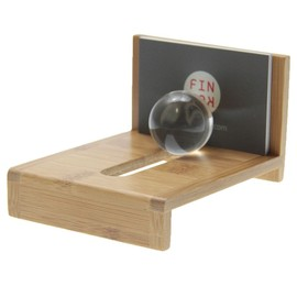 Business card holder with glass ball