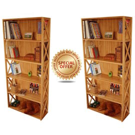 Stackable Bookcase, 5 Book Shelves, Set of 2