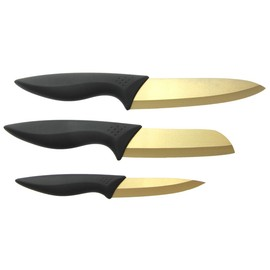 Ceramic Knives Set (Titanium Coated) - Chef, Santoku, Paring