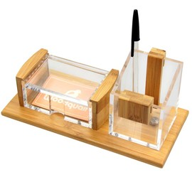 Pen Pot and Card Holder (Bamboo & Acrylic)