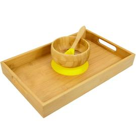 Bamboo Bowl with Spoon Yellow and Tray 35x22 cm