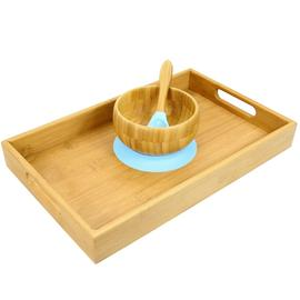 Bamboo Bowl with Spoon Blue and Tray 35x22 cm