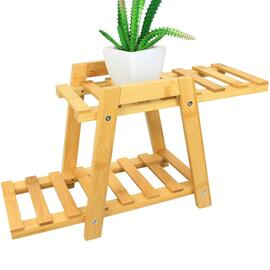 2 Tiers Bamboo Plant Stand